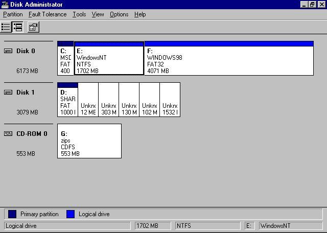 Multiboot MS-DOS 6 22 - Windows98 - Windows NT Server 4 0